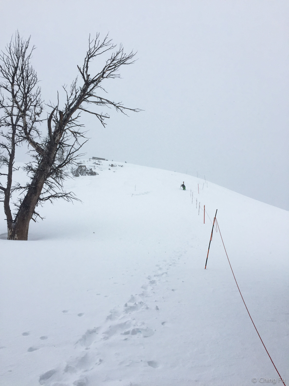 Hiking up Headwall at Jackson Hole Ski Resort.