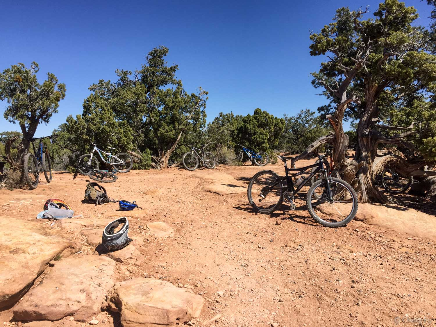 Our myraid mountain bikes at the scenic overlook.