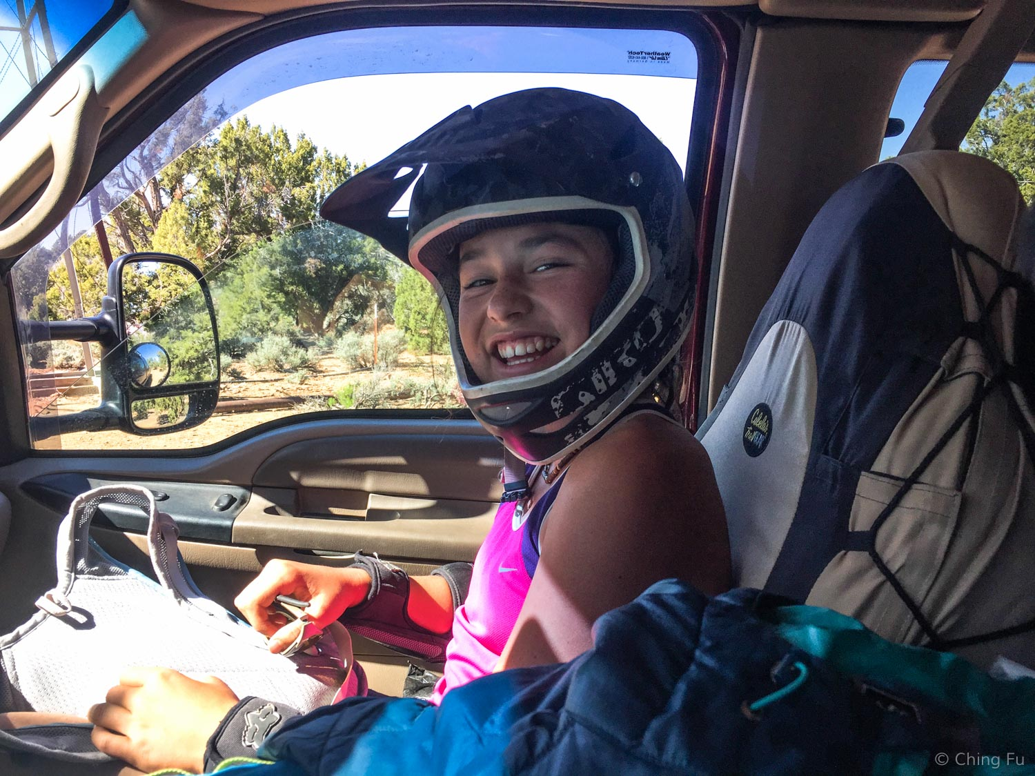 Side story: After our ride I get in the driver's seat and there's Mara sitting next to me with her full face helmet still on. I asked her if she thought I was that  bad  of a driver!