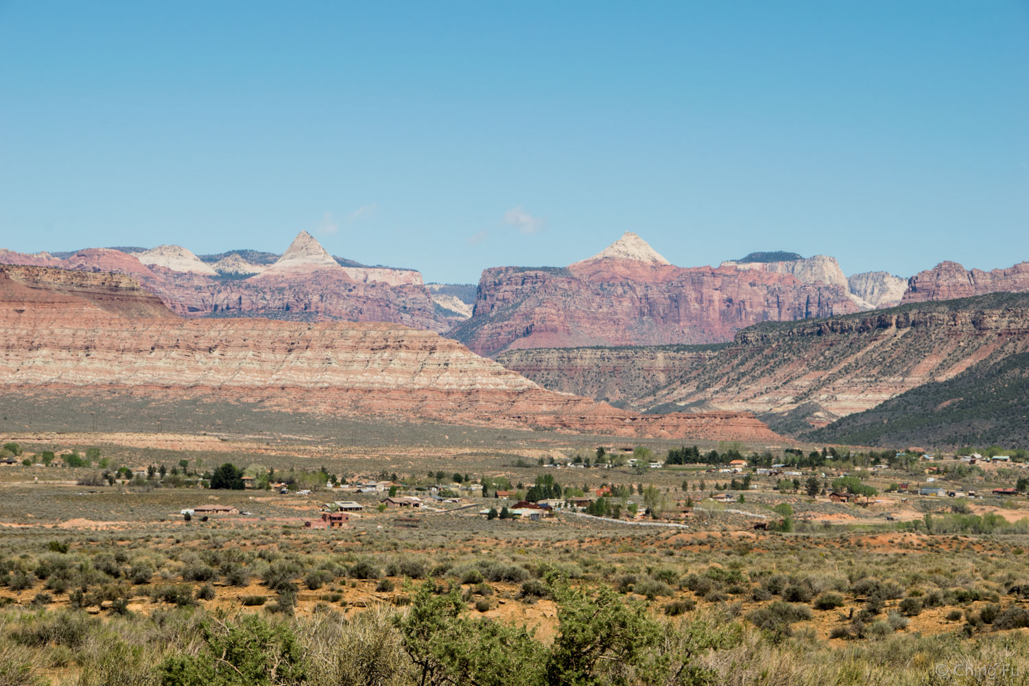 View of Zion mountains from our boondocking site.