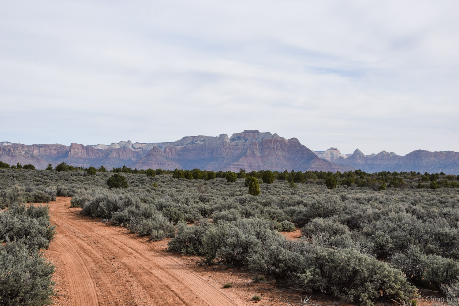 The drive to the trailhead includes views of Zion.