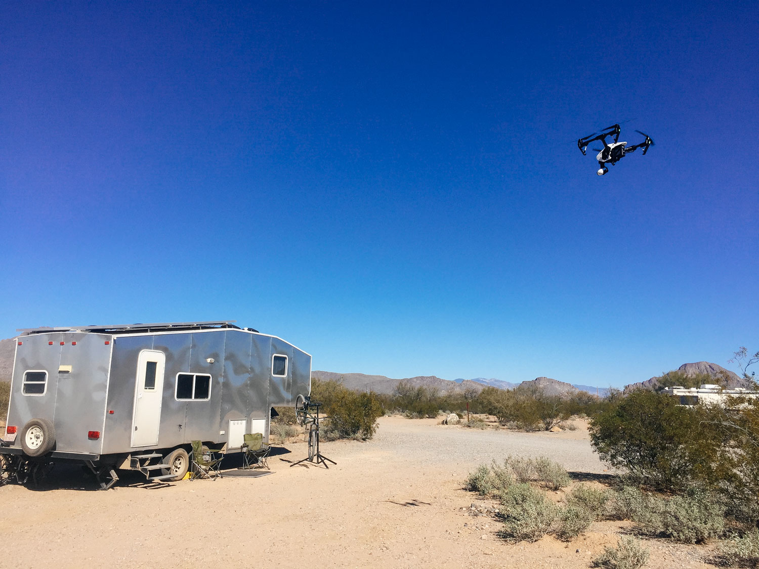 Maury flew the drone to get shots of the Toaster at our boondocking spot.