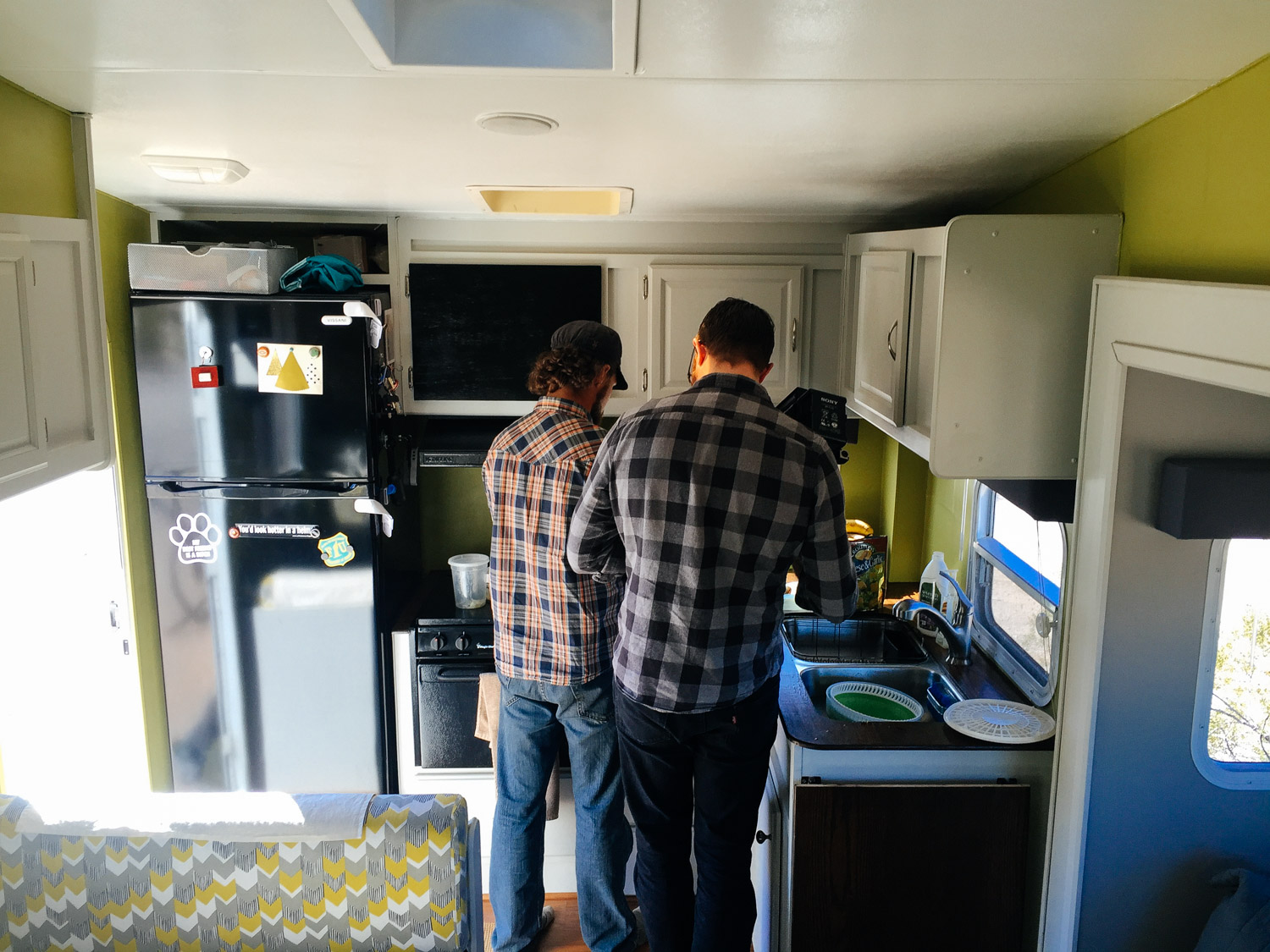 Brian is filming Jerud making lunch.
