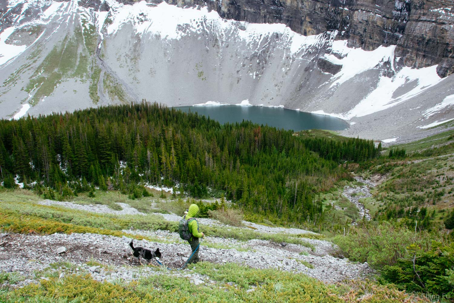 Hiking back down the steep switchback section to Bourgeau Lake.