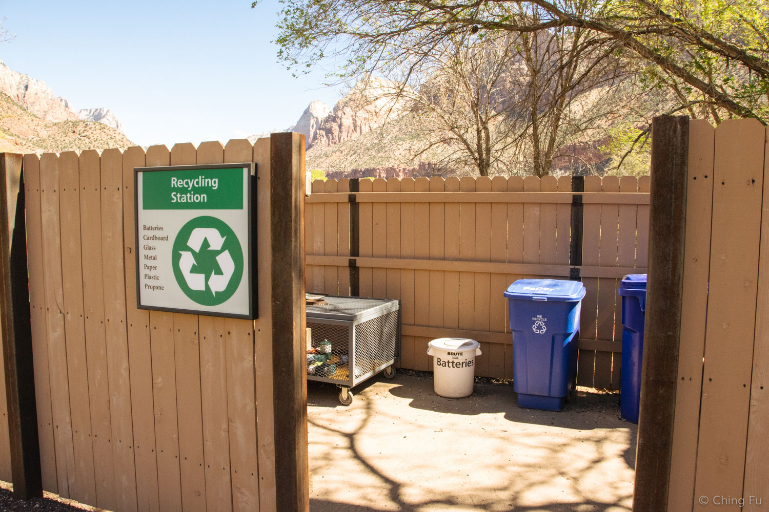 This was the recycling center at Zion National Park.