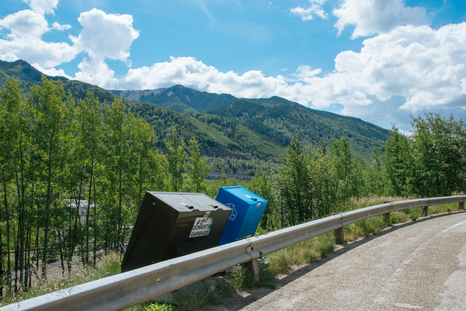 There are recycling bins next to trash cans at a lot of the pullouts along the highways in Alberta and British Columbia. The only downside is that the bins don't state what is recyclable.