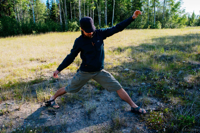 Jerud demonstrating how wide a moose step is.
