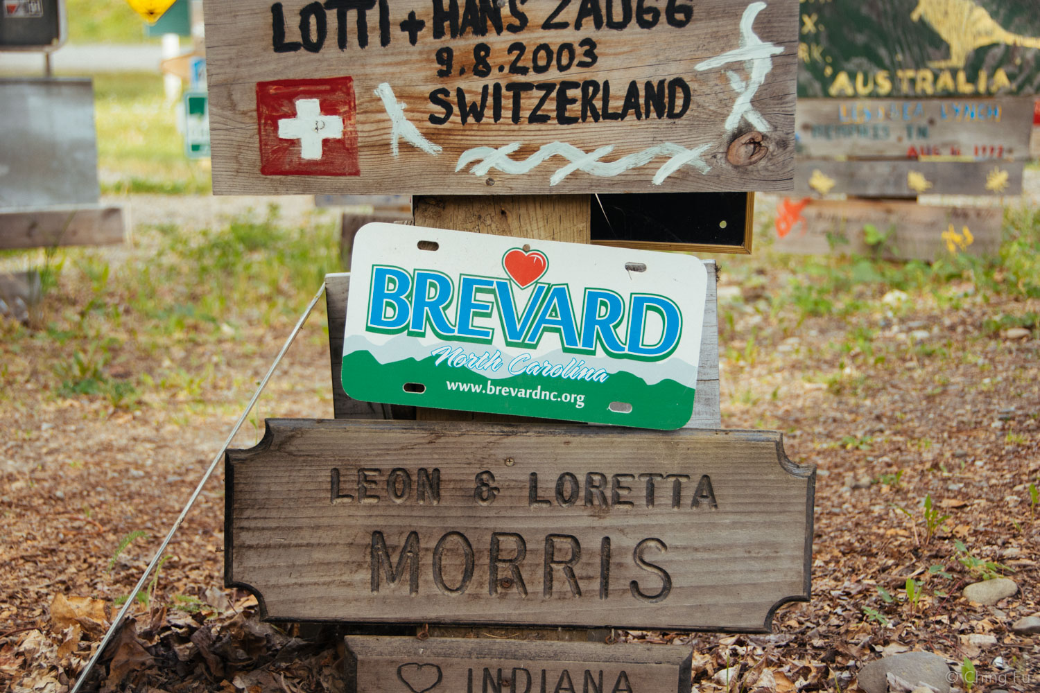 Brevard, NC sign in the Sign Post Forest.