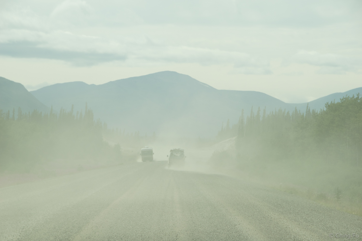 Dusty sections on the Alaska Highway.