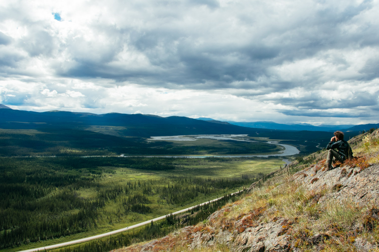 View of the Yukon River and Alaska Highway from the top of our hike.