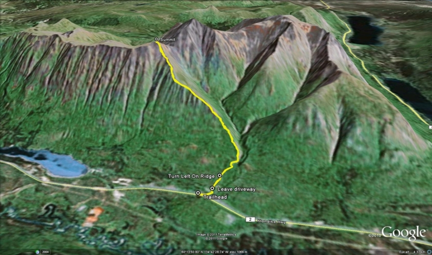 Google Earth view of our hike from Yukon Hiking.