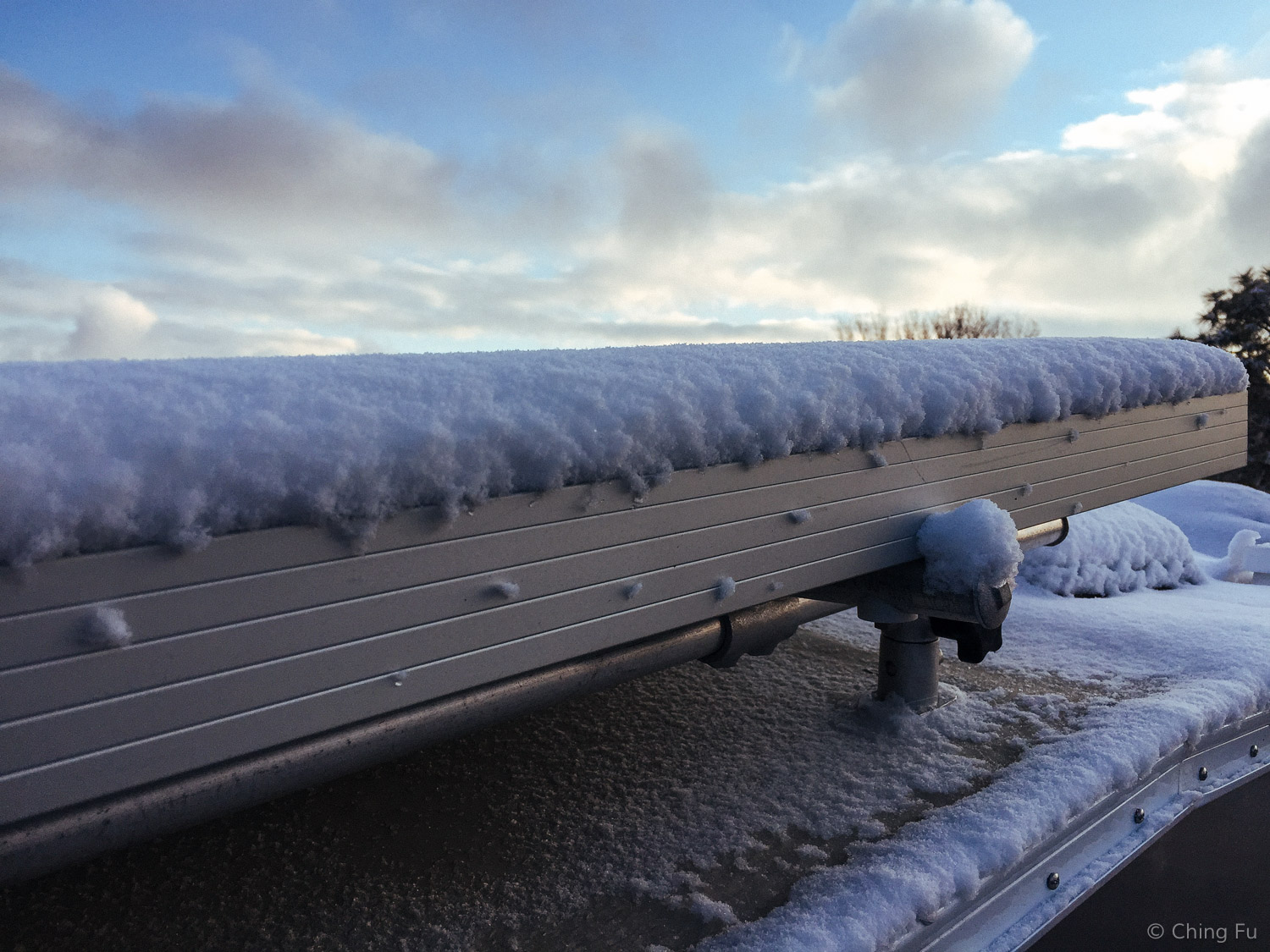 Snow means our solar panels look like this.