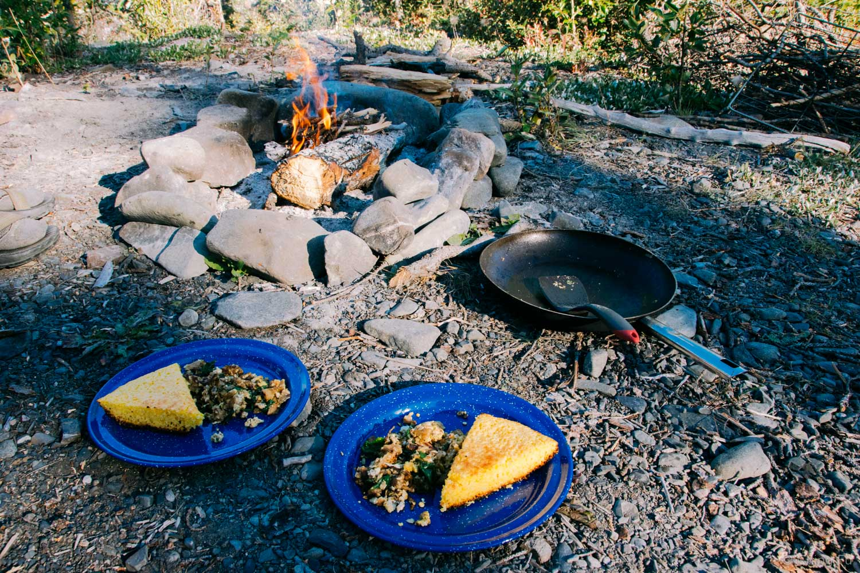 Campfire egg scramble and cornbread for breakfast.