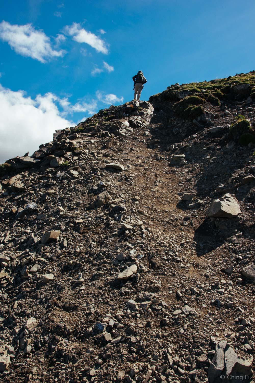 The trail got steeper.