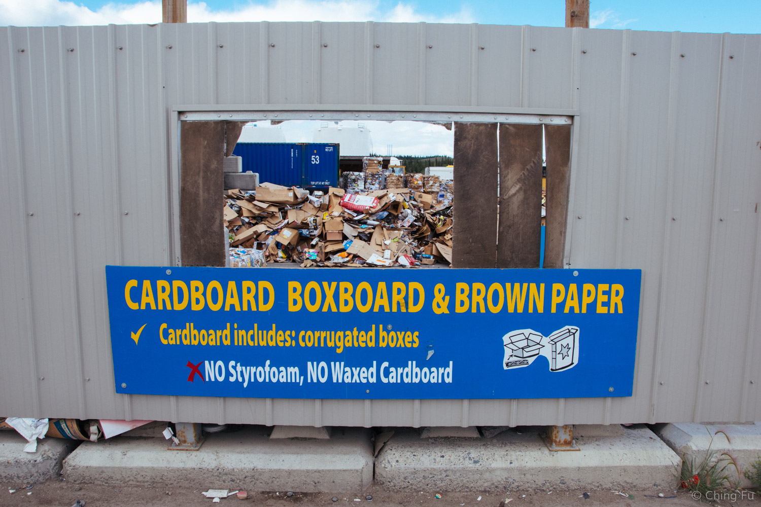Recycling sign in Whitehorse, Yukon.