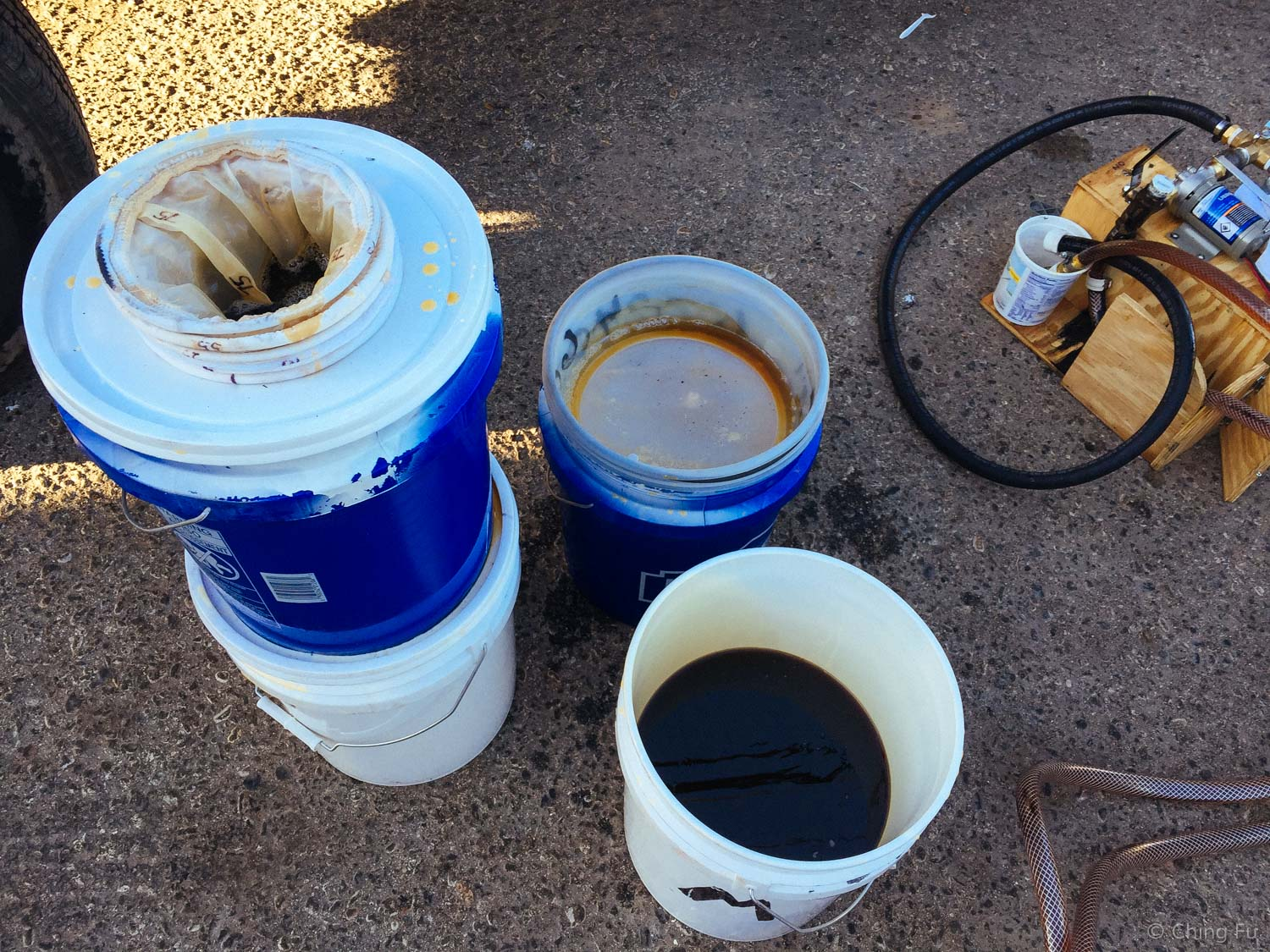 This is what our WVO collection and filtering setup looked like when we first hit the road. The filters on the left are sock filters. We used various micron sized filters to catch all sizes of debris.