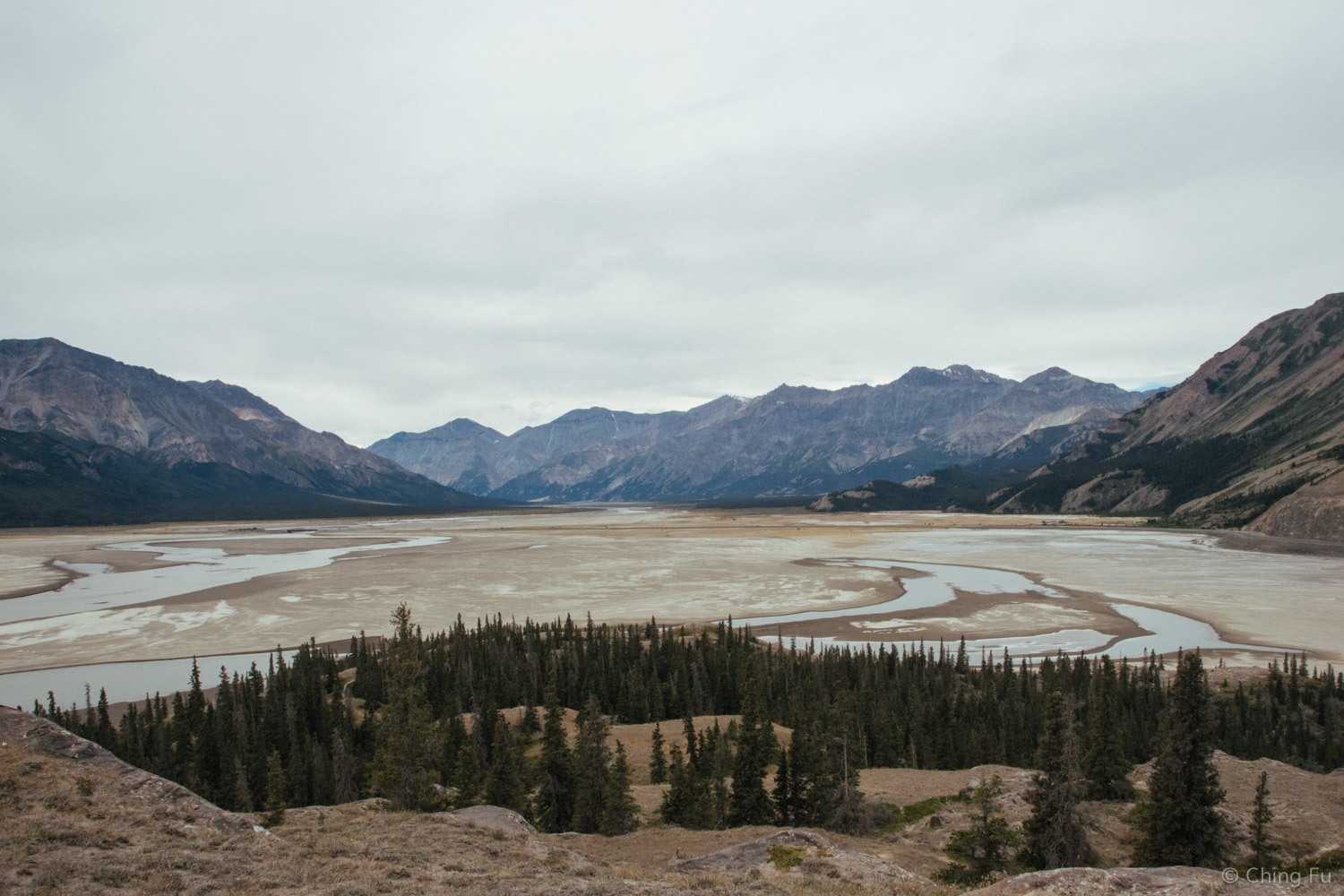 This was our view of the dried lake section from the top of the island.