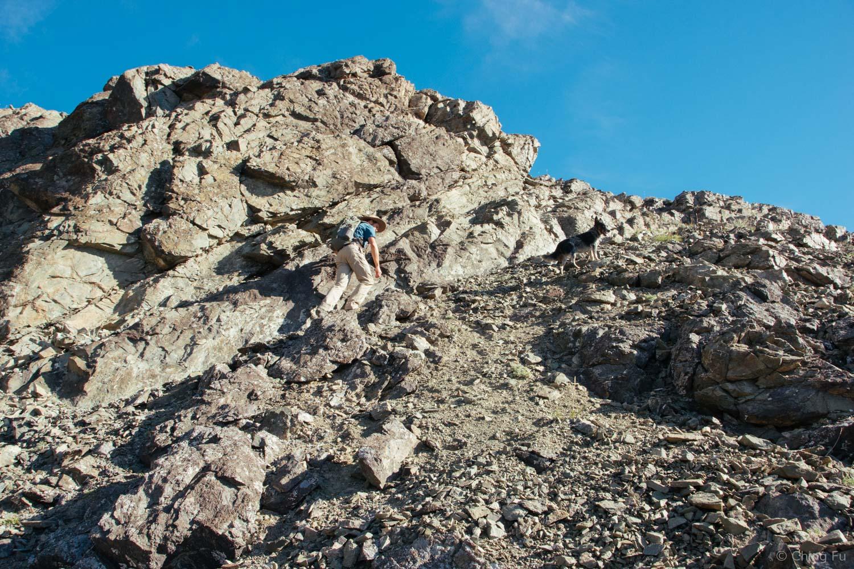 Jerud hiking Sheep Mountain.