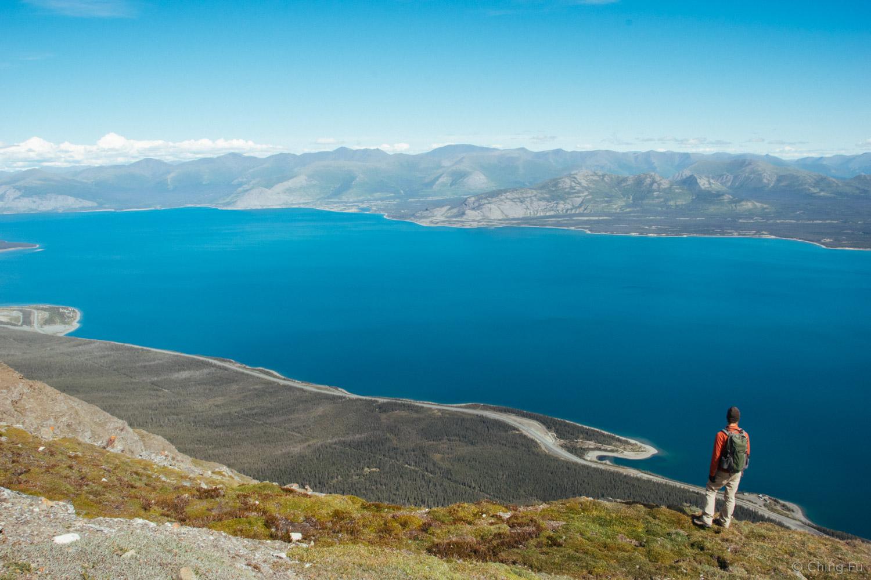 Enjoying the view of Kluane Lake.