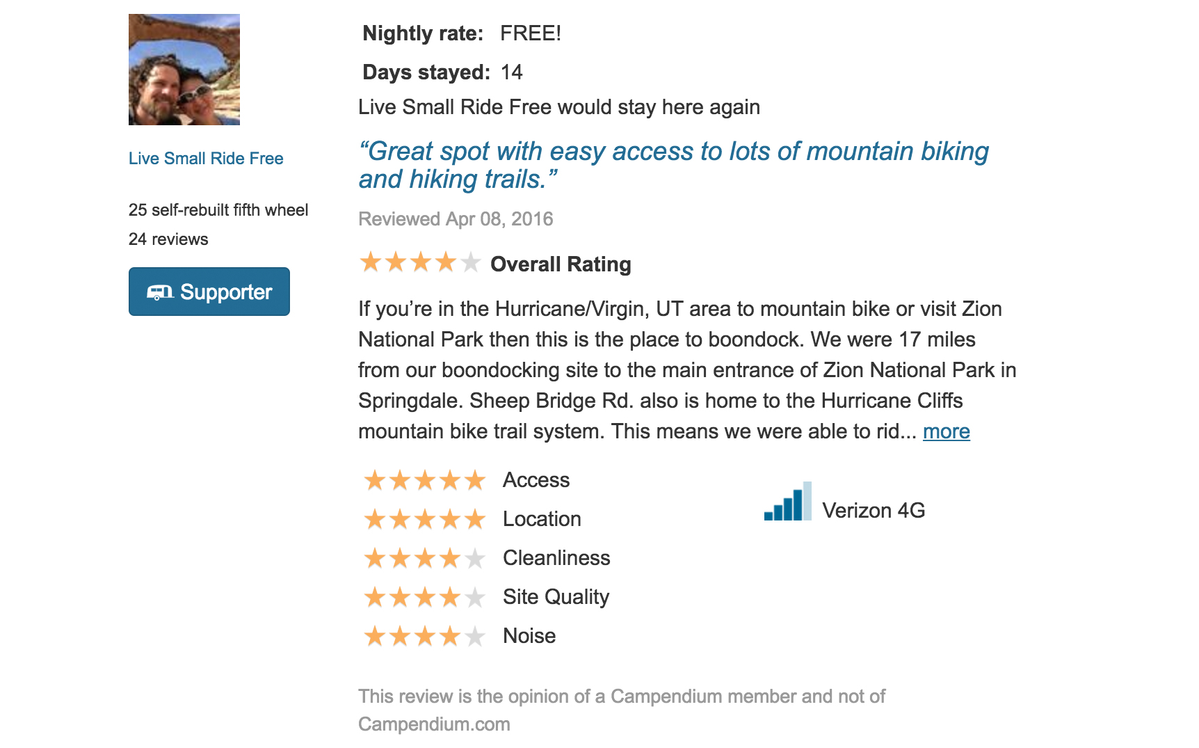A screenshot of one of our reviews for a boondocking site.