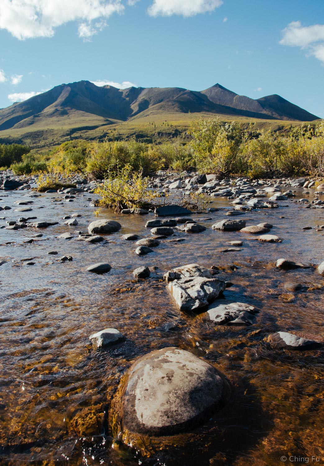 North Klondike River that runs through the Tombstone Mountain Campground.