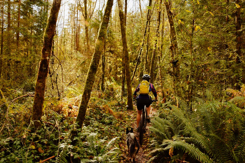 Mountain biking at Paradise Valley Conservation Area, WA.