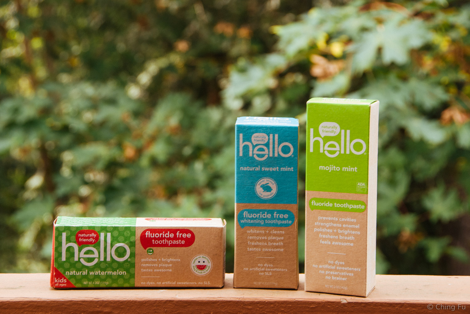 Hello Mojito Mint, Sweet Mint, and Natural Watermelon toothpastes.