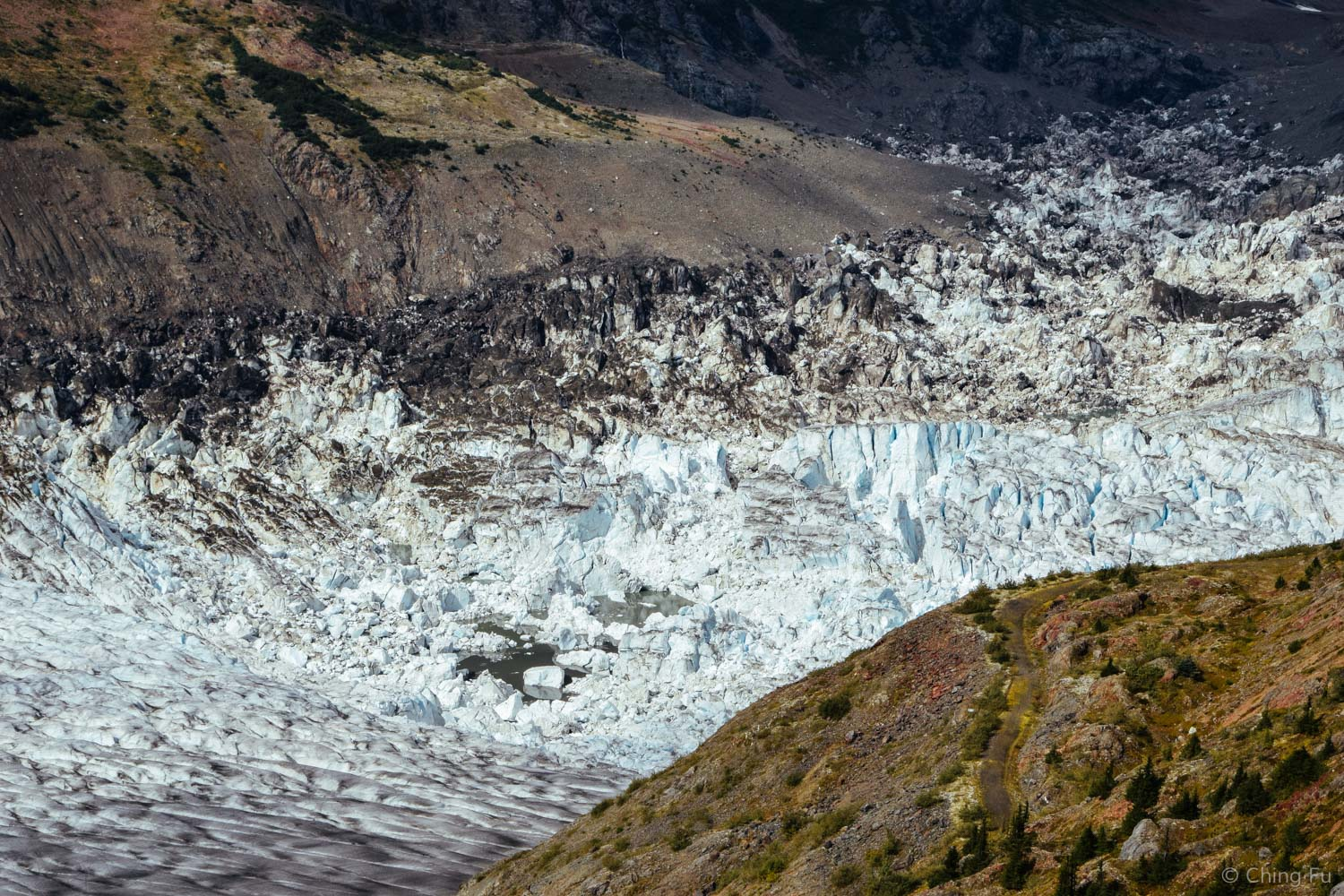 At the northern end of Salmon Glacier (the right arm) is Summit Lake, which is filled with ice blocks.