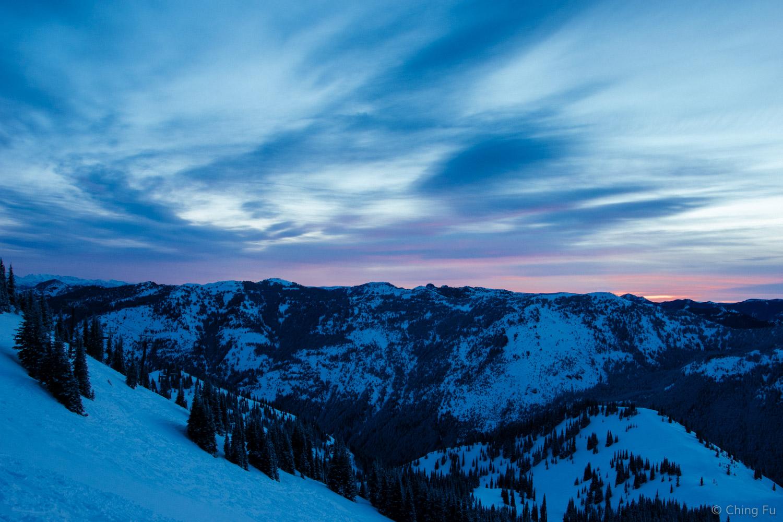 Sunrise at Crystal Mountain Resort.