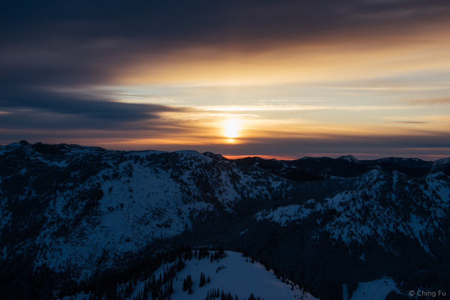 Sun rising from the top of the gondola.