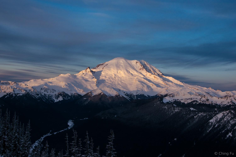 Sunrise on Mt. Rainier.