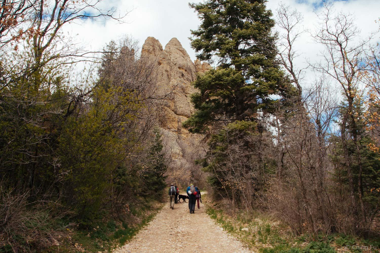 Hiking in to climb.