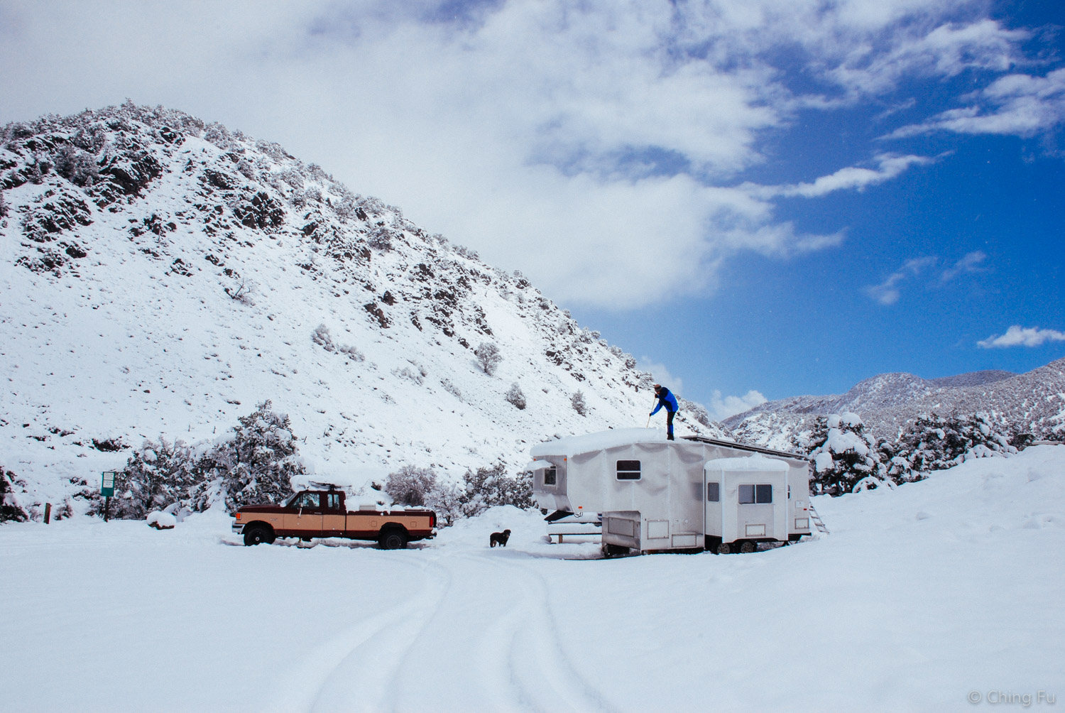 This was the first boondock site we found via Campendium. It was in  Salida, CO . The snow was unexpected.