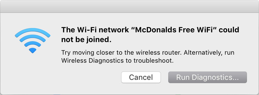"""I hate getting this box when the network appears as """"4 bars""""!"""
