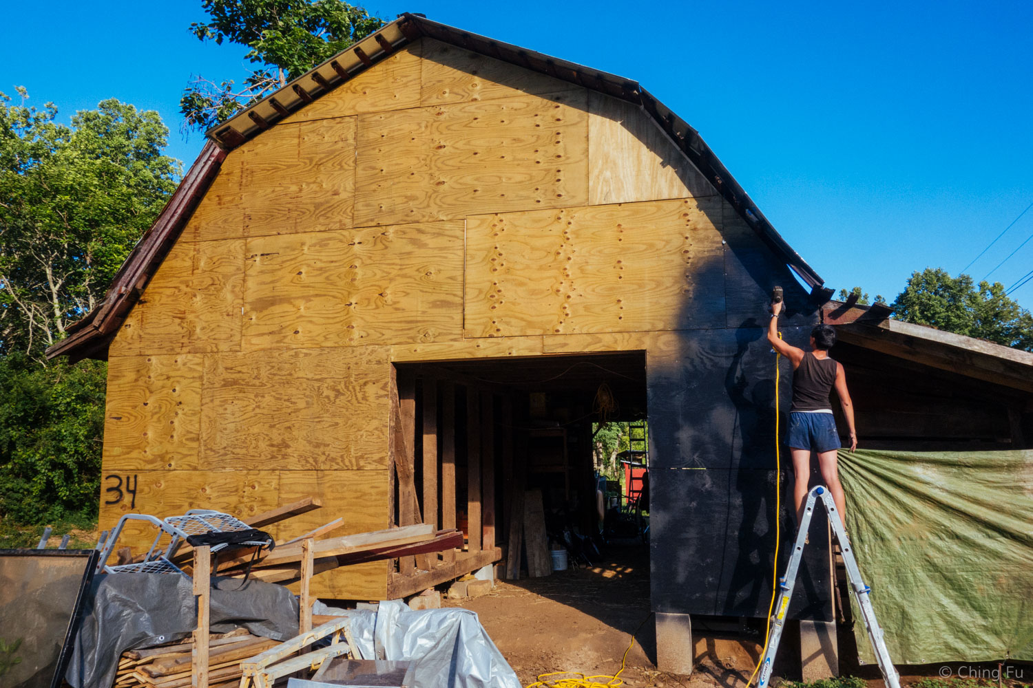 Helping with some of the barn-to-home conversion work.