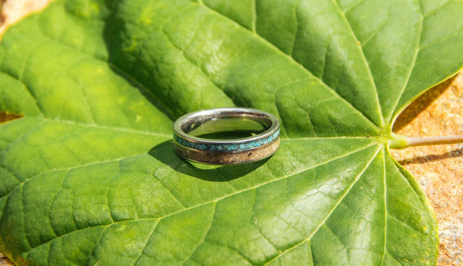 This ring is made up of crushed turquoise and Tybee's ashes.