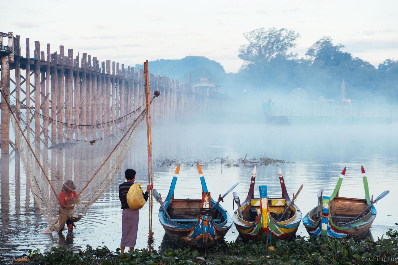 Getting ready to fish at sunrise at U Bein Bridge.