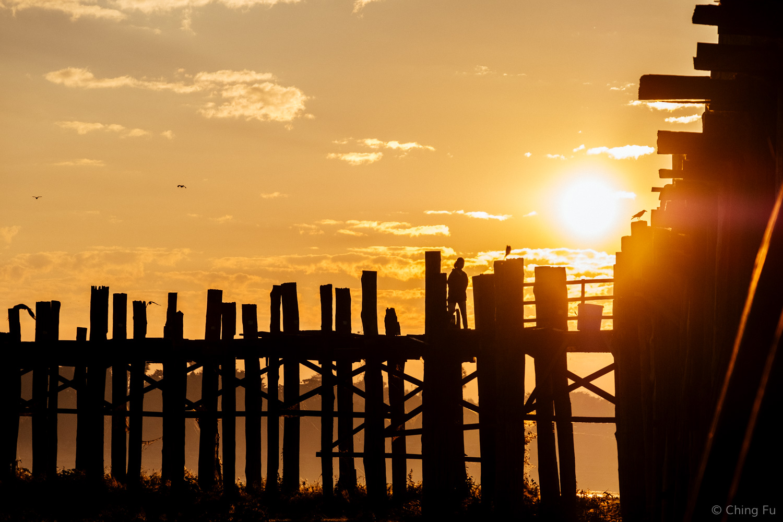 U Bein Bridge at sunrise.