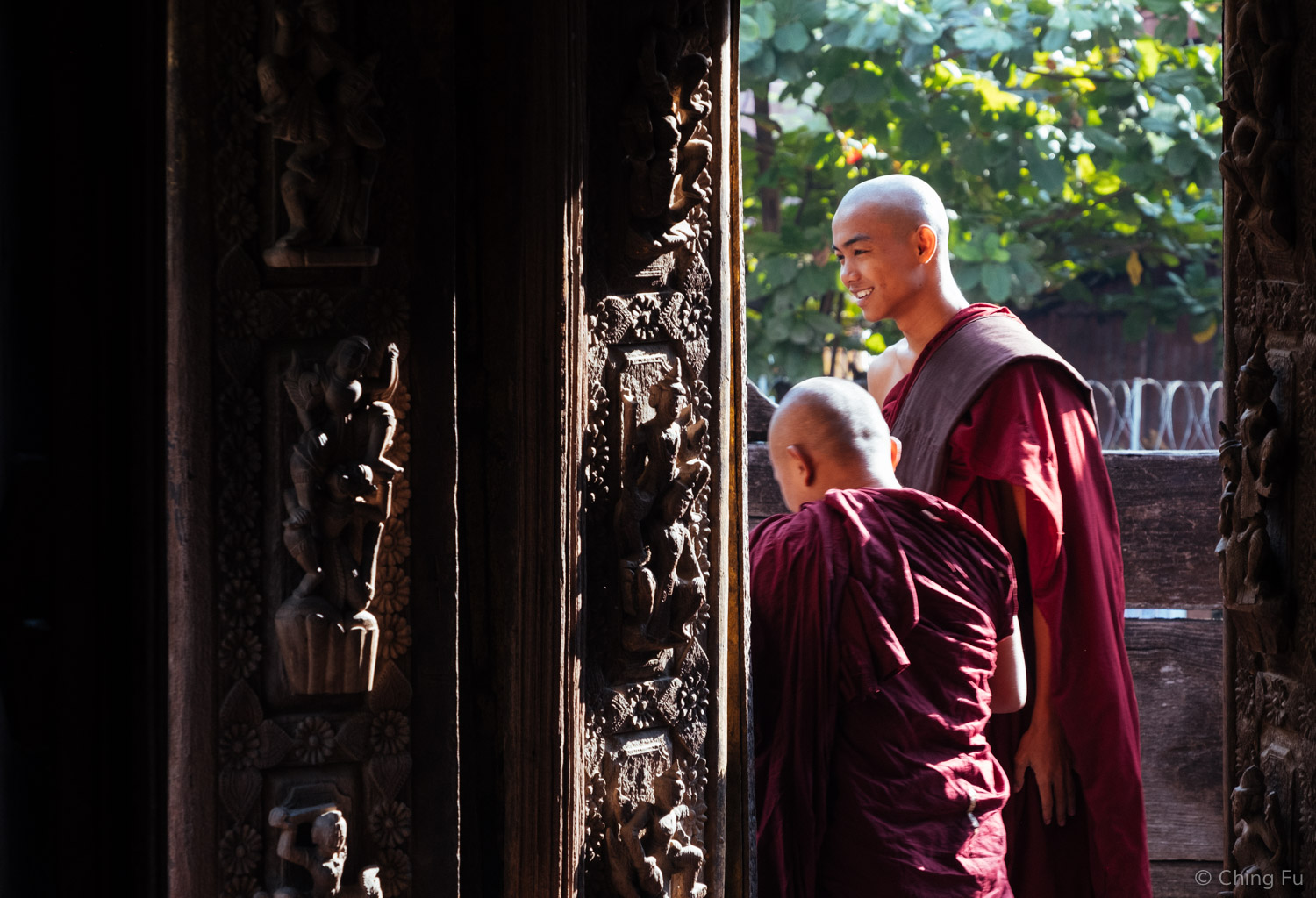 Two monks visiting the monastery.