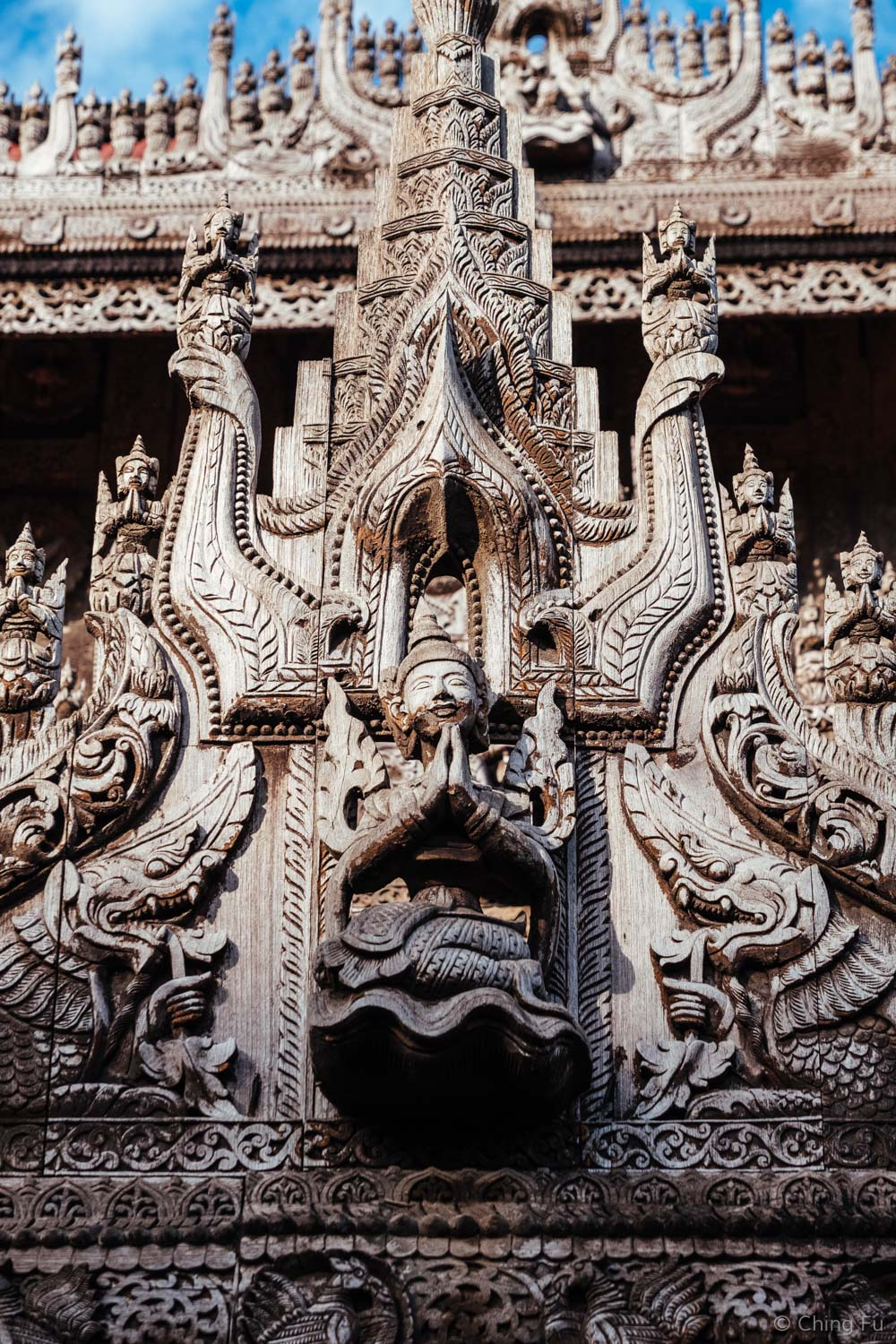 An example of the carvings around Shwenandaw Kyuang Temple
