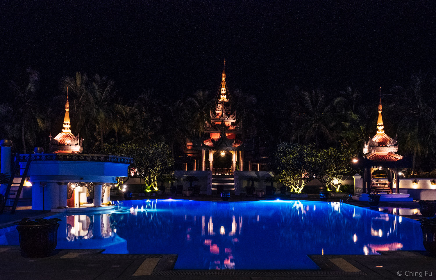 Mandalay Hill Resort's pool. If you stay there, be sure to check out the spa area at night. I'd love to have a home and garden that resembles it.