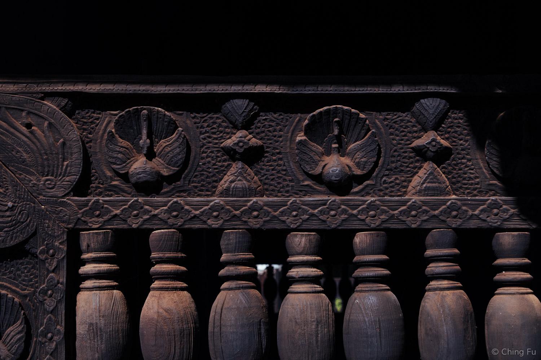 Carving on the teak wood of Bagaya Monastery