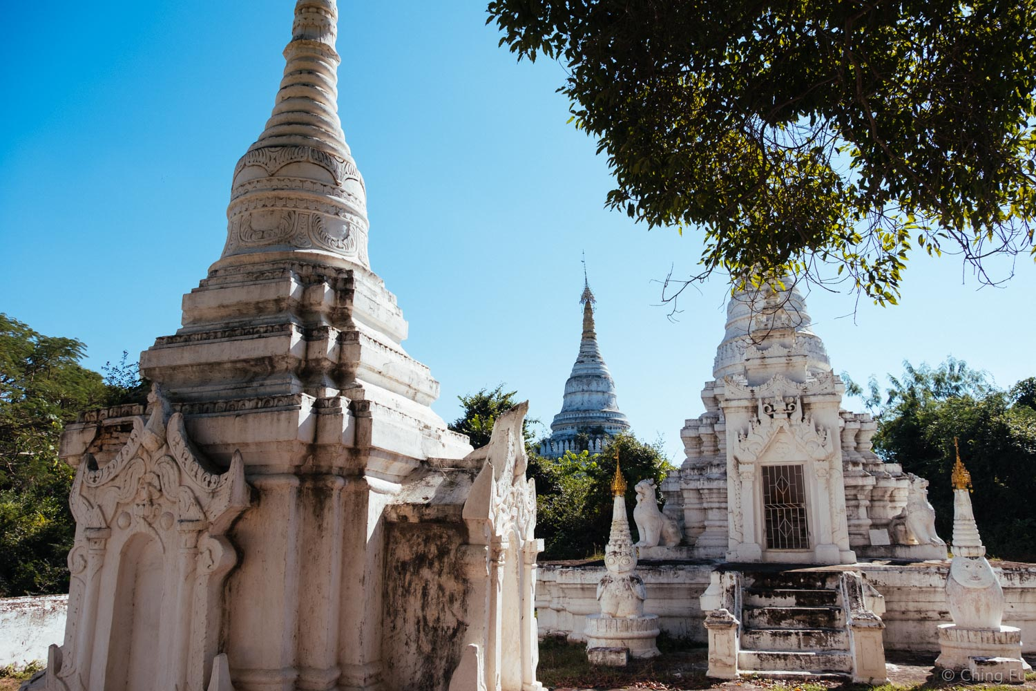A group of pagodas and stupas we came across in Inwa, Myanmar.