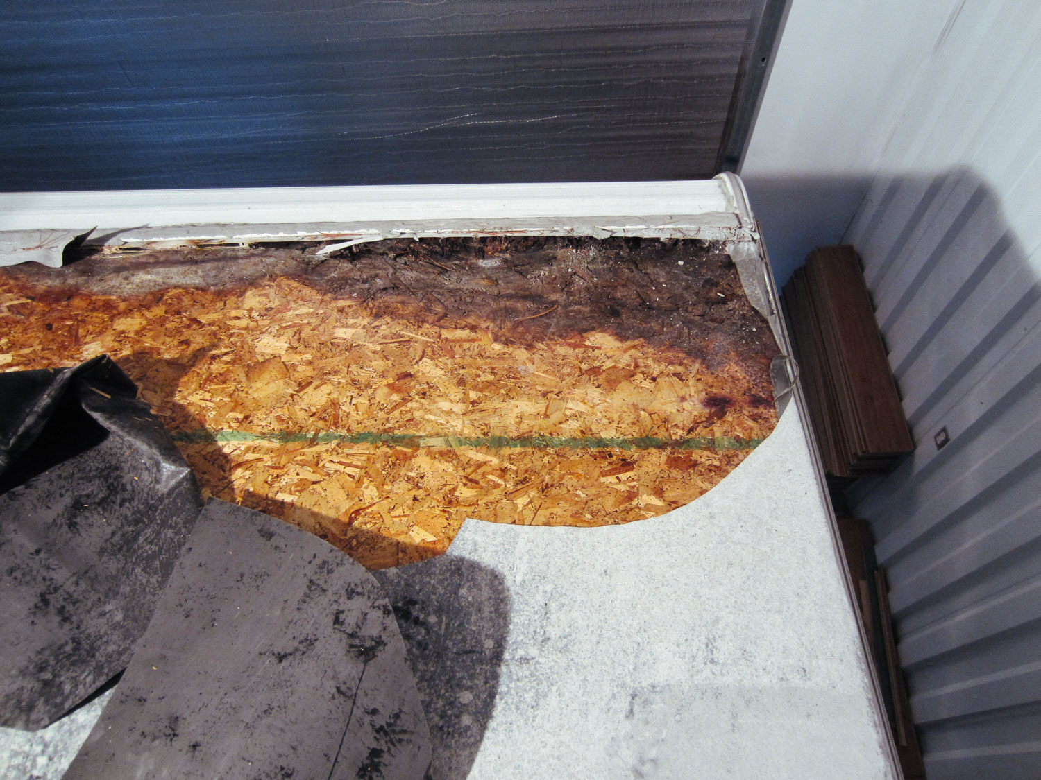 We realized the extent of the rig's water damage when we went to replace the roof membrane.