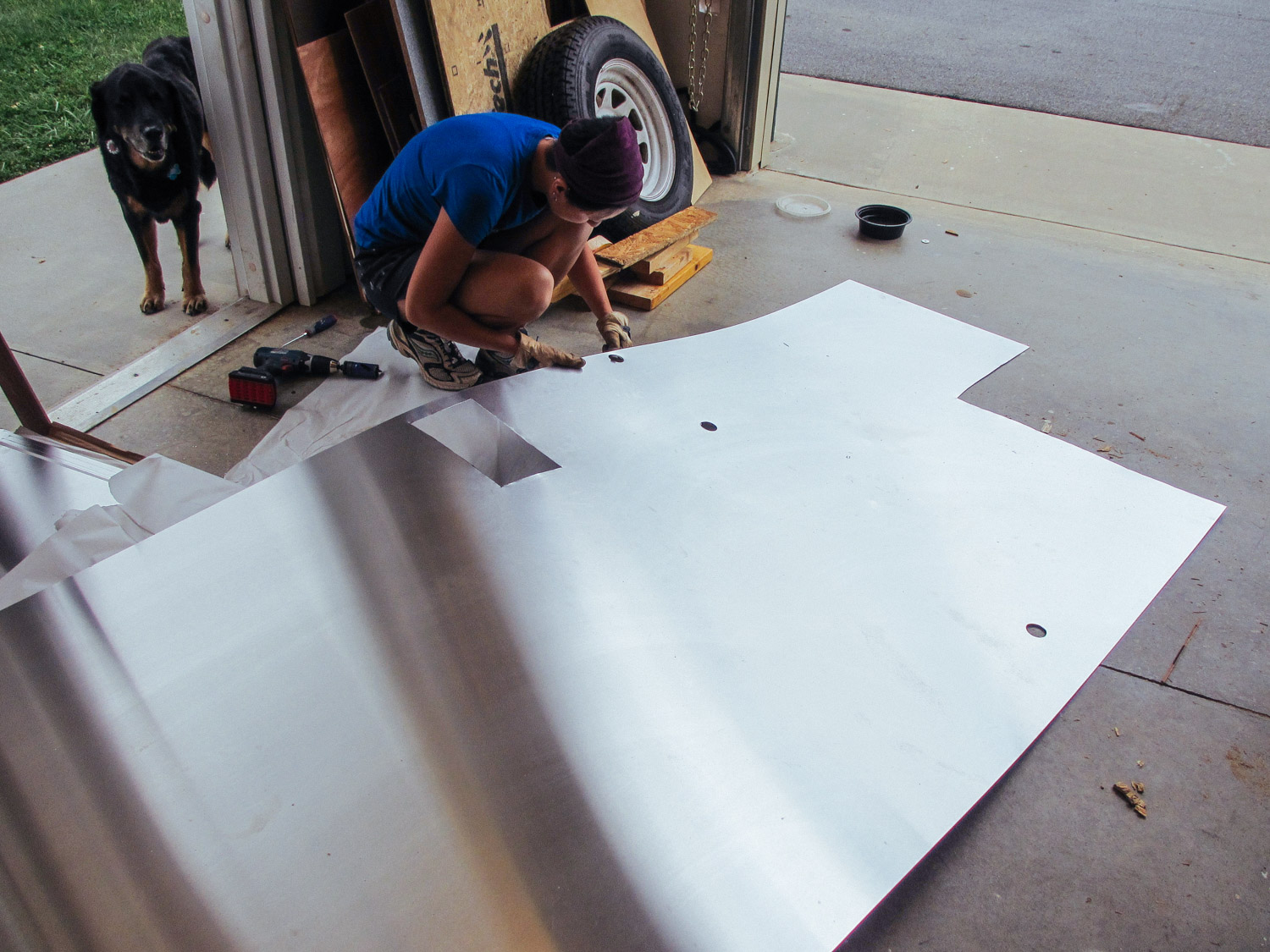 Pre-cutting the sheets for vent and wire holes.