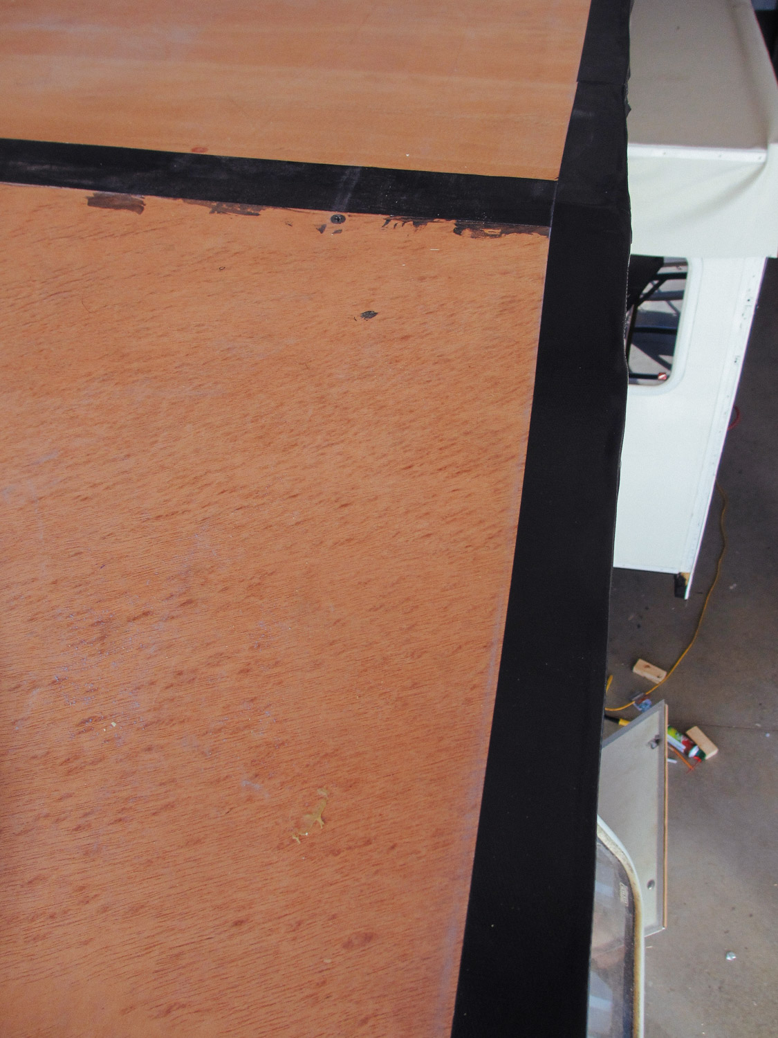 We also covered the rough plywood edges with Gorilla tape.