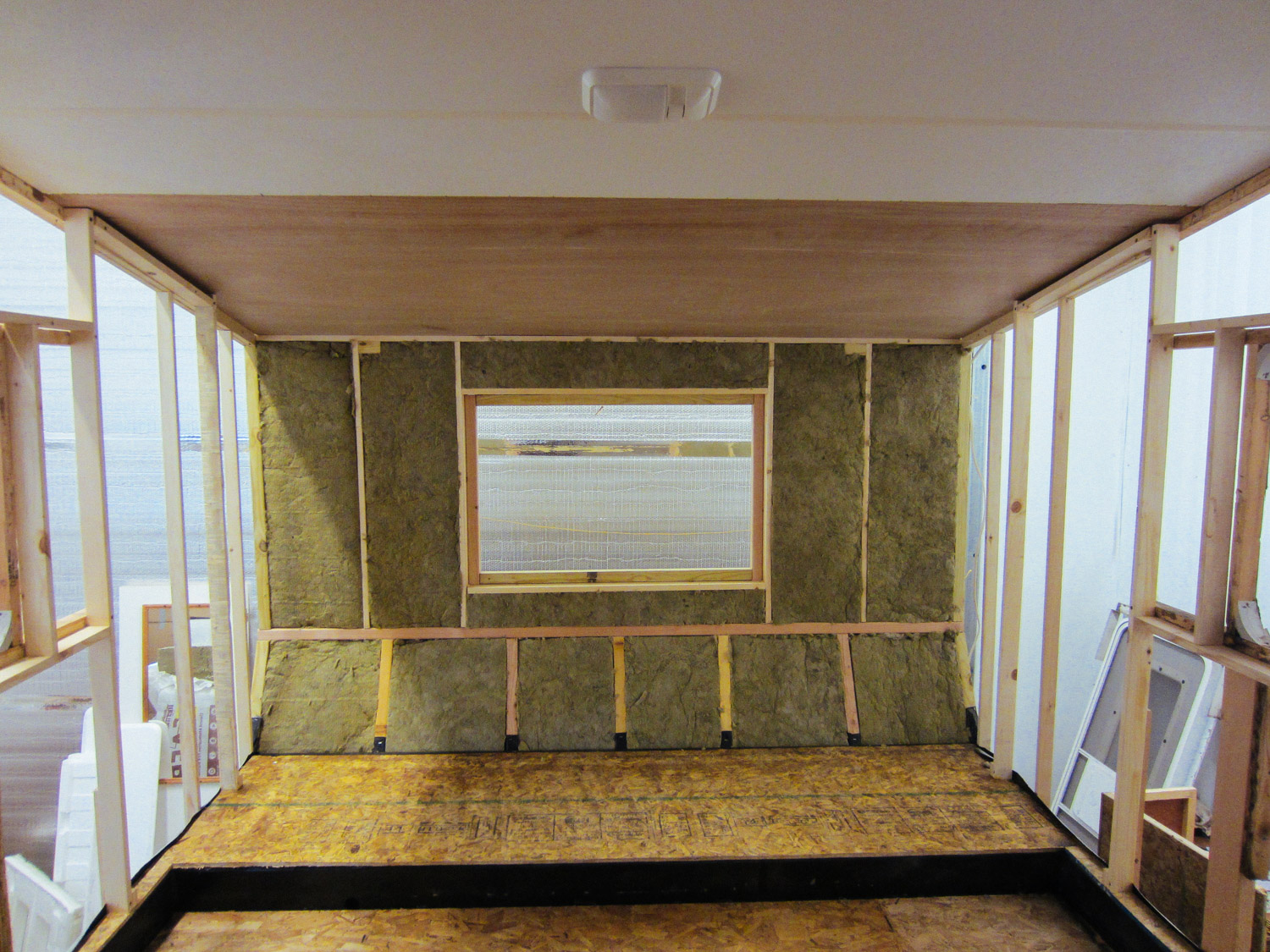 Mineral wool insulation was added to the bedroom walls.