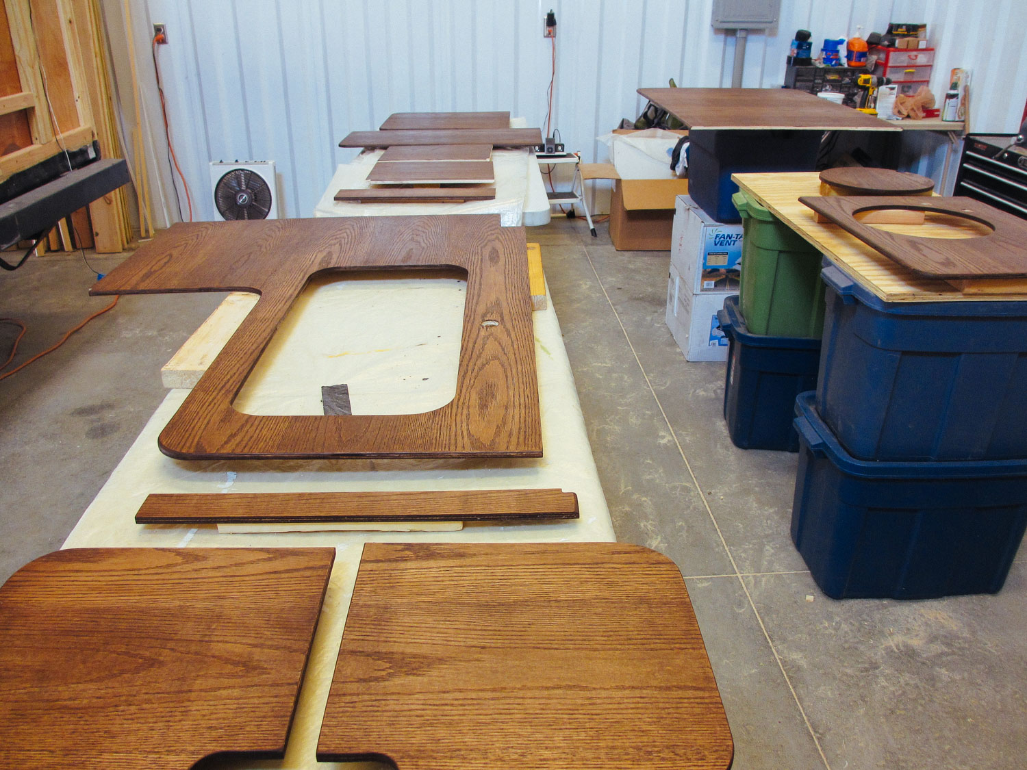 We cleaned, sanded, stained and polyurethaned the new countertops.