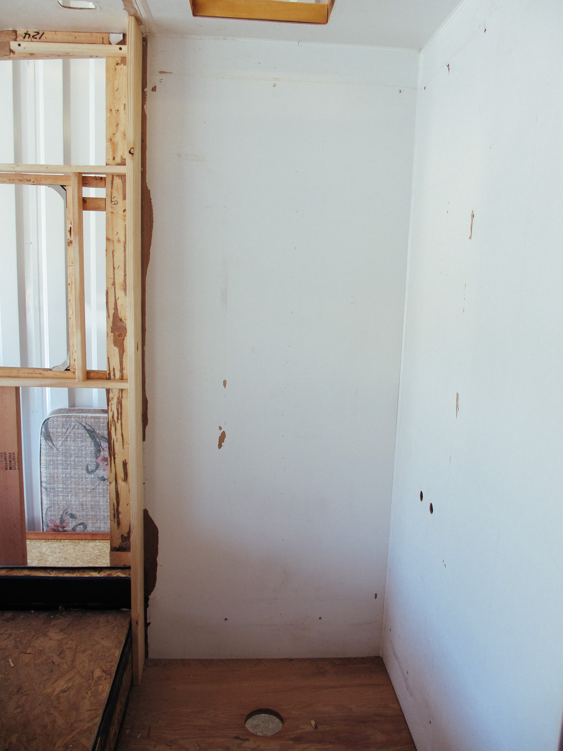 We also removed the shower and the wall that separated the shower and the bedroom.