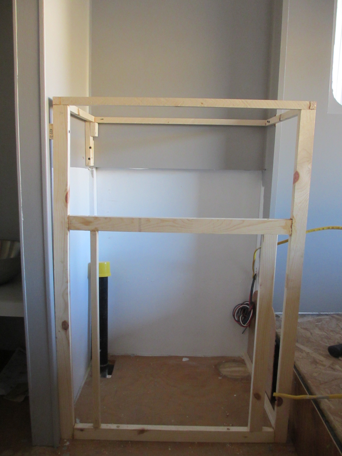The frame of our new bathroom cabinet.